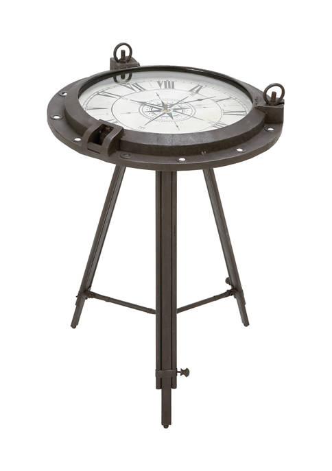 Monroe Lane Coastal Iron Compass Clock Table