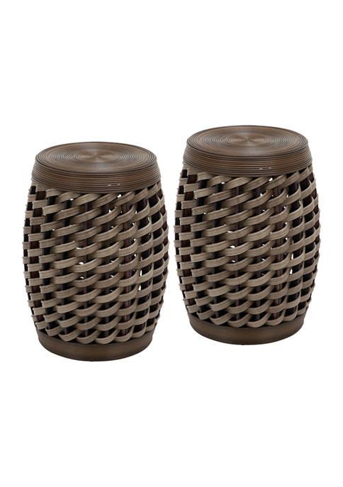 Set of 2 Rattan Drum Design Stools
