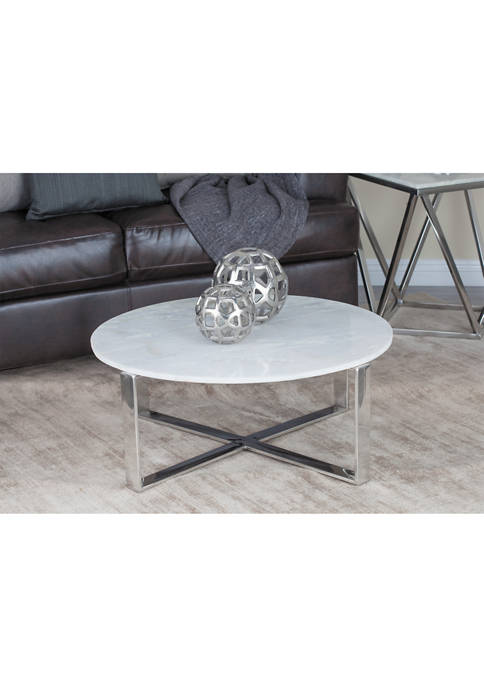Monroe Lane Round Marble Coffee Table with Modern