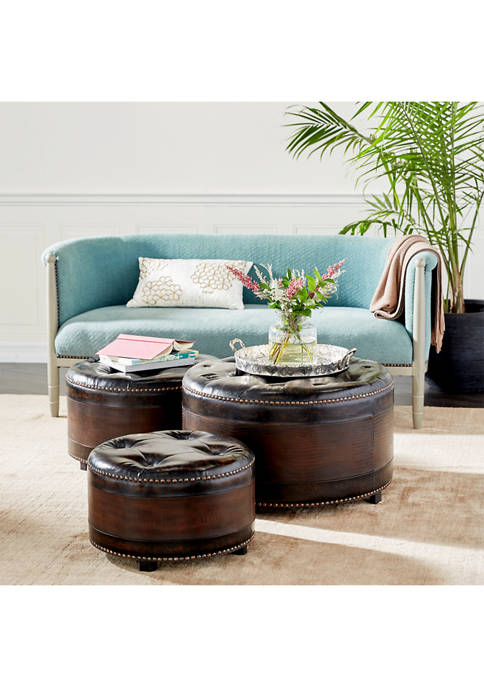 Tufted Faux Leather Ottomans with Brass Studs - Set of 3