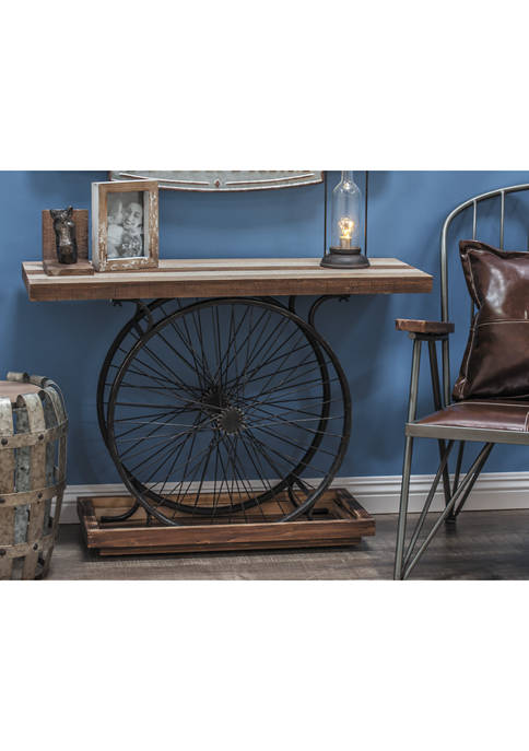 Industrial Wheels Console Table