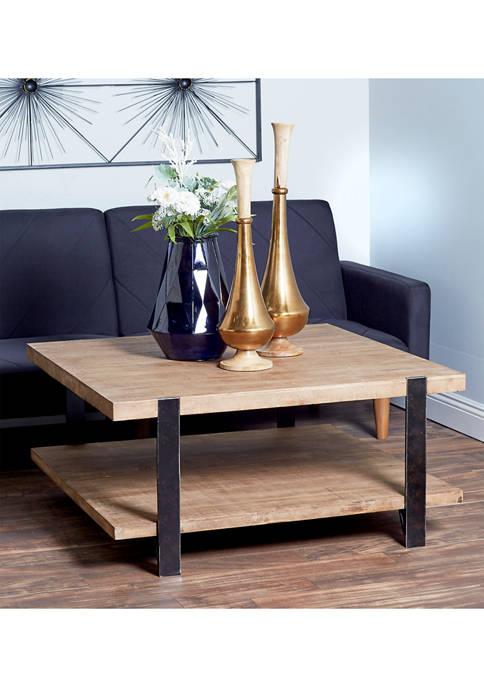Monroe Lane Wood Metal Square Coffee Table