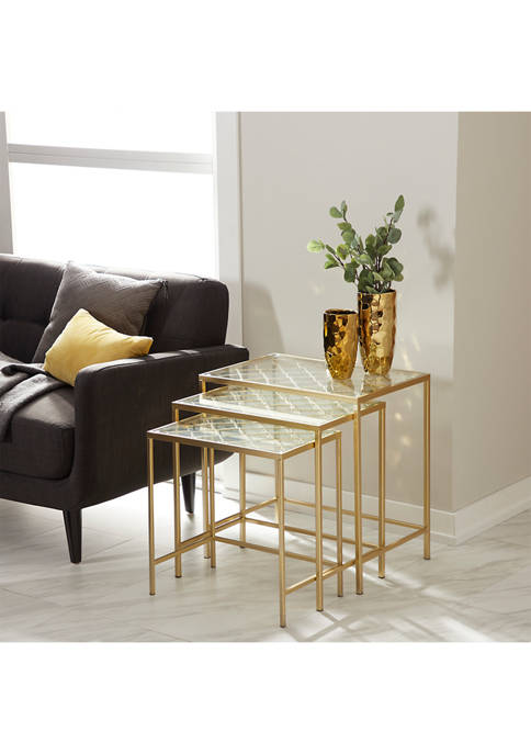 Metallic Nesting Accent Table with Quatrefoil Grid Pattern - Set of 3