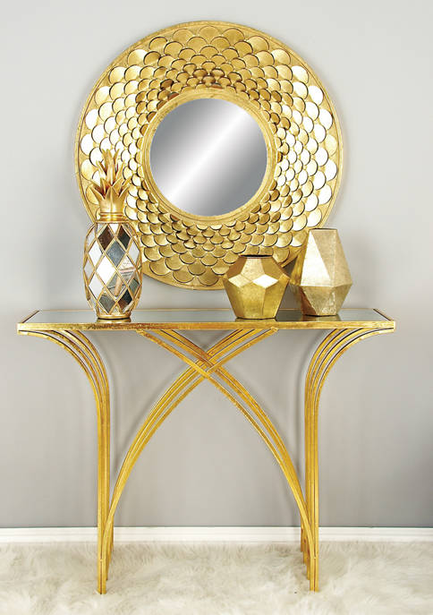 Metal Mirror Console Table
