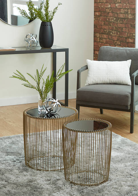 Metal Glass Accent Table  - Set of 2