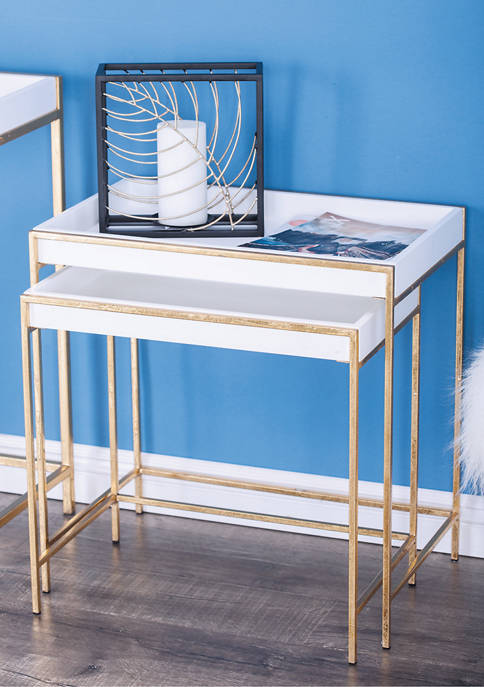 Metal Wooden Console Table  - Set of 2