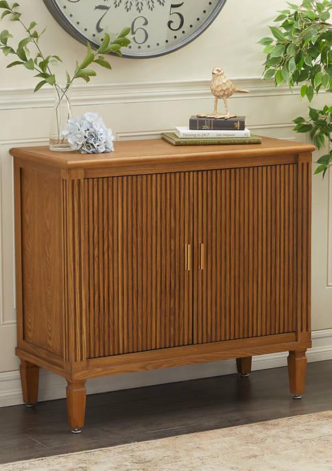 Traditional Rectangular Brown Wood and Metal 2 Door Cabinet