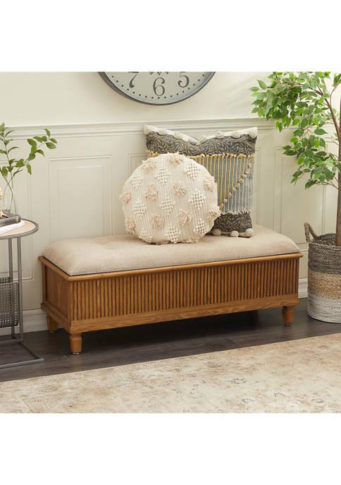 Monroe Lane Traditional Rectangular Brown Wood and Fabric