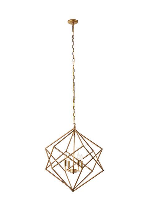 Monroe Lane Large Textured Gold Metal Geometric Pendant