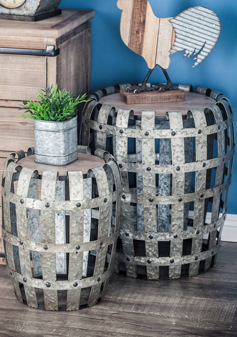Metal Wooden Accent Table  - Set of 2