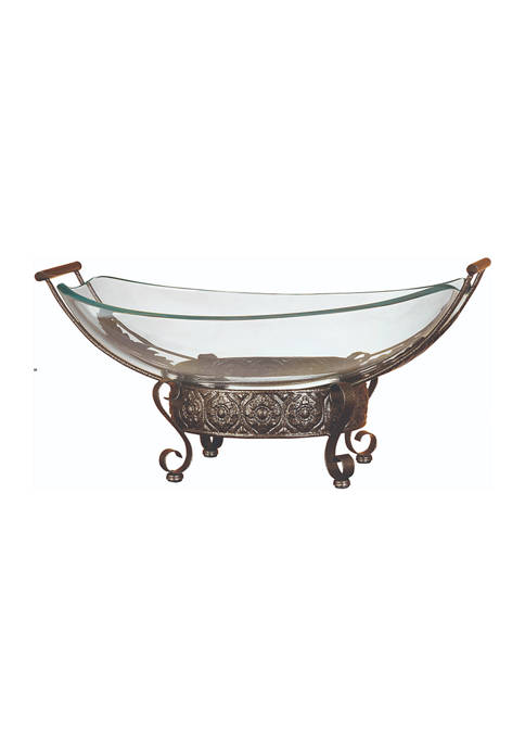 Monroe Lane Glass Bowl Metal Stand