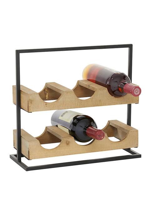 Brown Wood Farmhouse Wine Holder