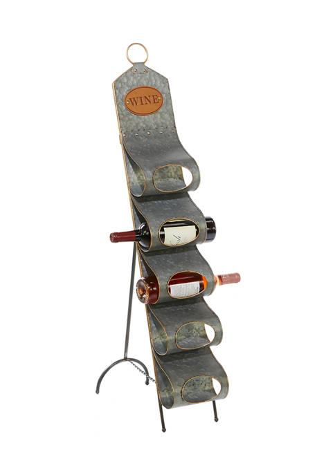 Monroe Lane Gray Metal Contemporary Standing Wine Rack