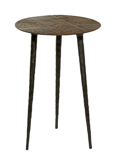 Brown Aluminum Rustic Accent Table