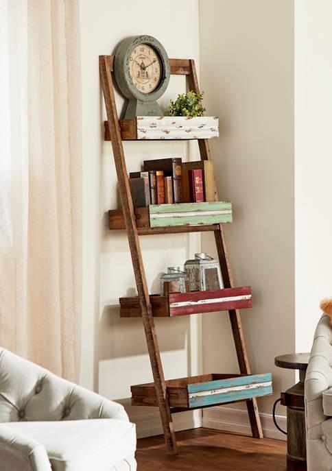 Four Drawer Wooden Ladder Shelf