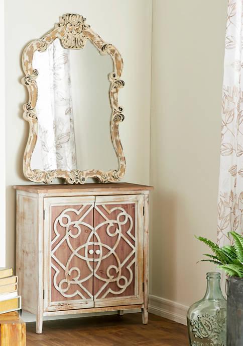 Monroe Lane Natural Wood Cabinet with Trellis Doors