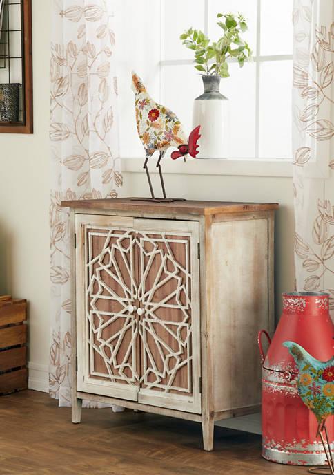 Monroe Lane Natural Wood Cabinet with Geometric Wood