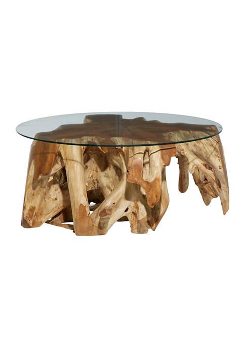 Brown Teak Wood Natural Coffee Table