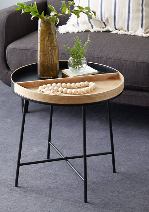 Black Metal Contemporary Accent Table