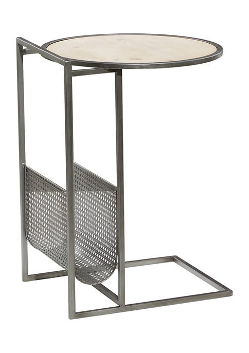 Gray Metal Contemporary Accent Table