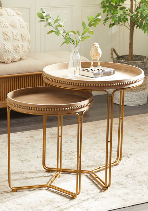 Brown Wood Contemporary Accent Table - Set of 2