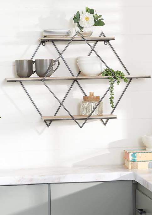 Monroe Lane Brown Wood Contemporary Wall Shelf