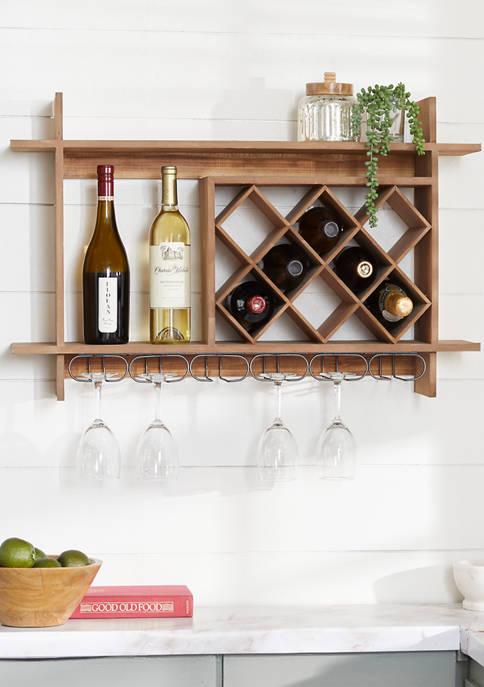 Monroe Lane Brown Wood Natural Wine Rack