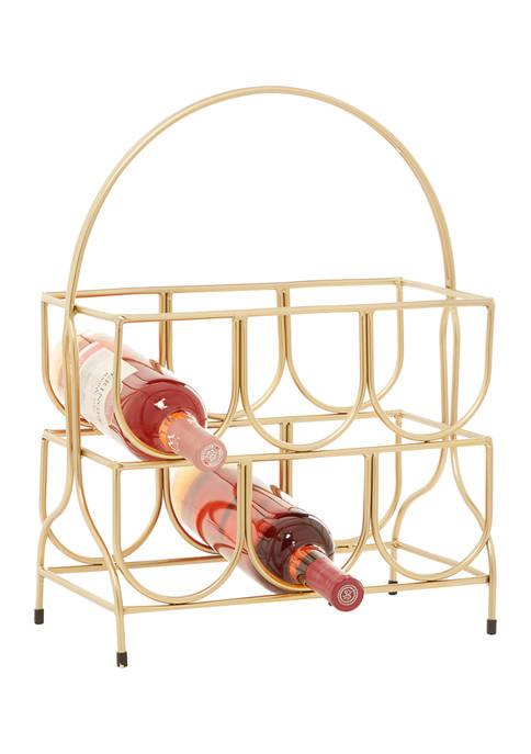 CosmoLiving by Cosmopolitan Gold Metal Contemporary Wine Rack