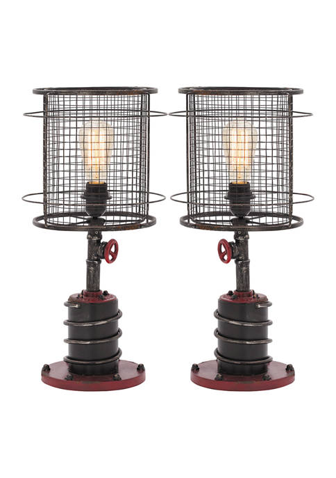 Industrial Accent Table Lamp - Set of 2