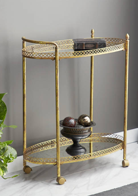 Monroe Lane Tiered Textured Oval Mirror Rolling Bar