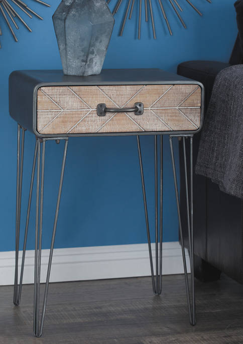Modern End Table With Chevron Drawer