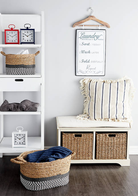 Wooden Bench with Wicker Baskets