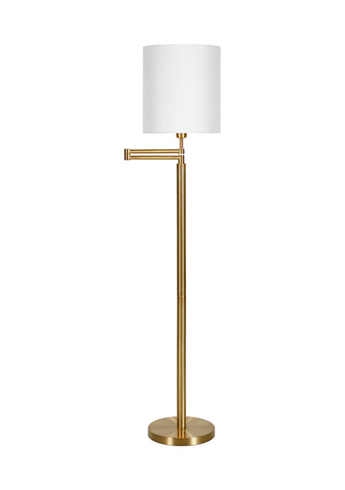 Moby Swing Arm Brass Finish Floor Lamp With Drum Shade