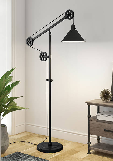 Descartes Floor Lamp In Blackened Bronze with Pulley System