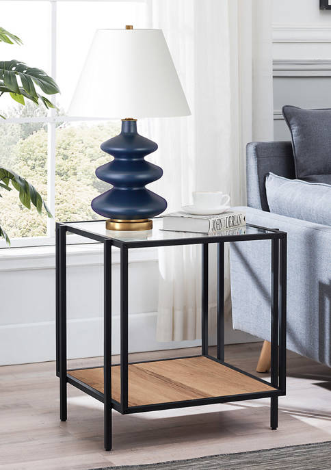 Vireo Blackened Bronze and Rustic Oak Side Table