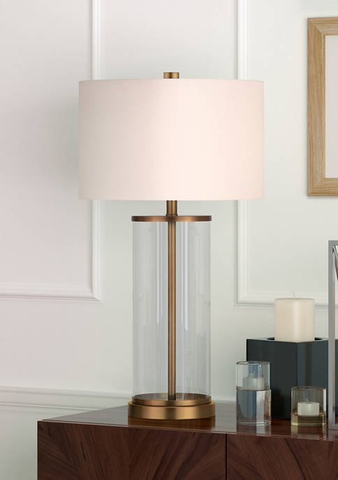 Rowan Table Lamp in Glass and Antique Brass