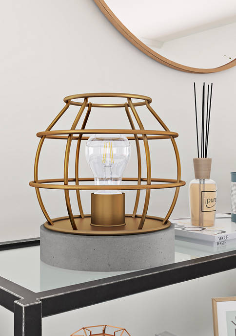 Kennet Table Lamp with Antique Brass Cage and Concrete Pedestal