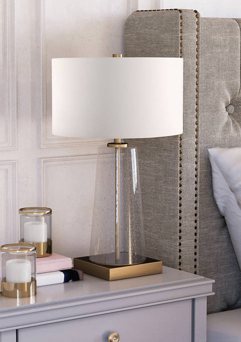Dax Tapered Seeded Glass Brass Accents Table Lamp