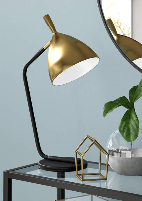 Yossi Blackened Bronze Table Lamp with Brass Finished Shade