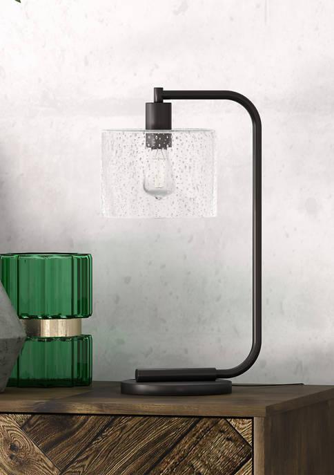 Cadmus Blackened Bronze Table Lamp- Seeded Glass