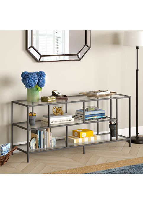 Winthrop 55 Inch Aged Steel TV Stand with Glass Shelves