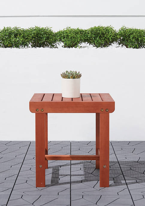 VIFAH Malibu Outdoor Patio Wood Side Table