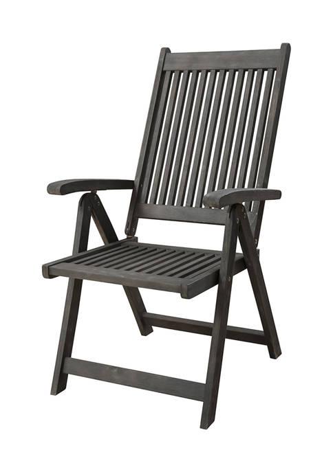 Renaissance Outdoor Patio Hand-Scraped Wood 5-Position Reclining Chair