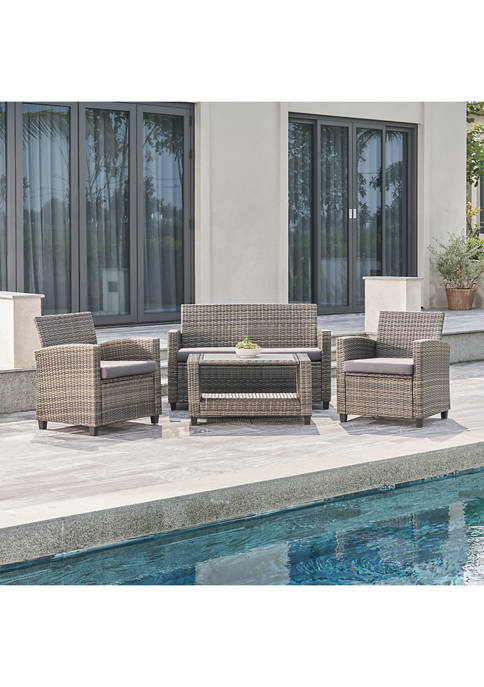 Gabrielle Resin Wicker Mixed Acacia Wood  Patio Lounge Sofa Set in Grey with Cushion