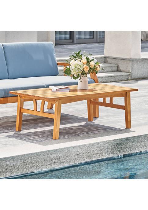 Kapalua Honey Nautical Eucalyptus Wooden Outdoor Sofa Table