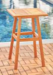 Olina Honey Fish Bone Eucalyptus Wooden Outdoor Side Table