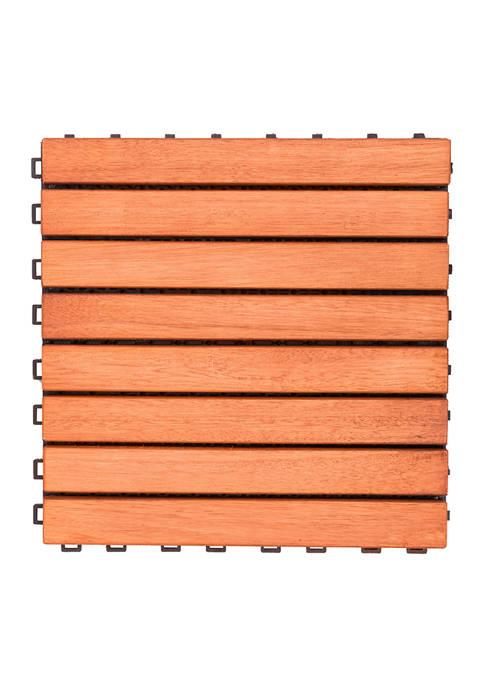 VIFAH Outdoor Patio 8-Slat Eucalyptus Interlocking Deck Tile