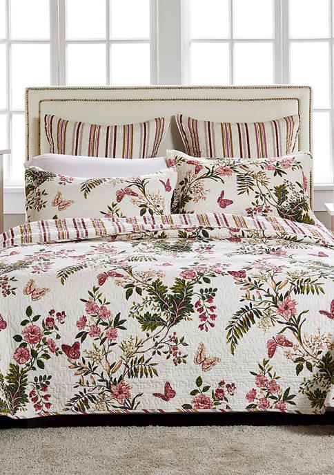 Butterflies Quilt and Pillow Sham Set