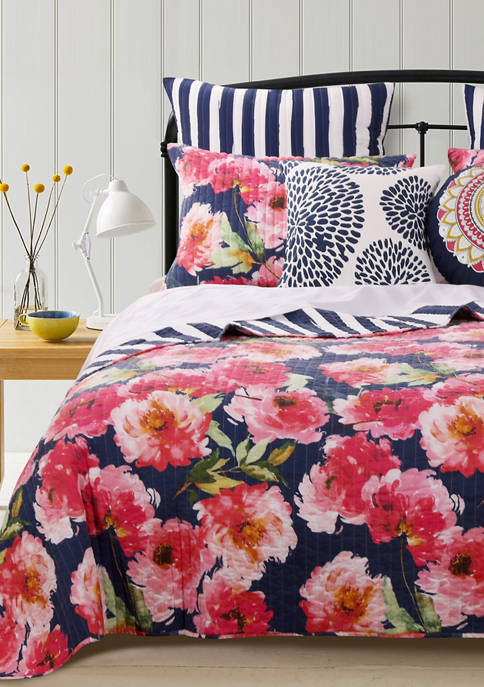 Barefoot Bungalow Peony Posy Quilt and Pillow Sham