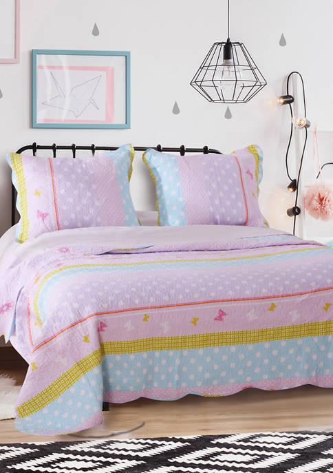 Polka Dot Stripe Quilt and Pillow Sham Set